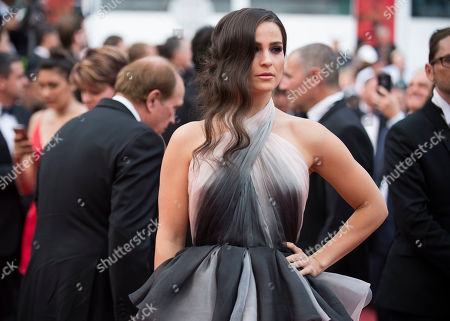 Gianna Simone poses for photographers upon arrival at the screening of the film Loveless at the 70th international film festival, Cannes, southern France