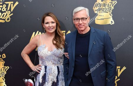 Susan Pinsky, left, and Dr. Drew Pinsky arrive at the MTV Movie and TV Awards at the Shrine Auditorium, in Los Angeles