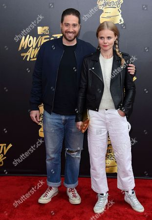 Jenner Furst, left, and Julia Willoughby Nason arrive at the MTV Movie and TV Awards at the Shrine Auditorium, in Los Angeles