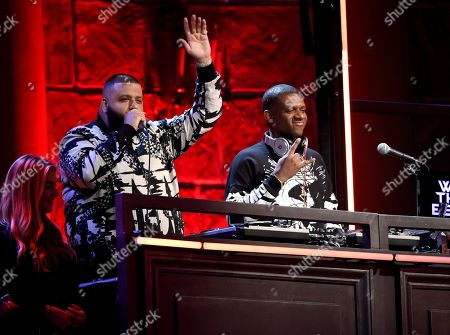 DJ Khaled, left, and DJ Nasty perform at the MTV Movie and TV Awards at the Shrine Auditorium, in Los Angeles