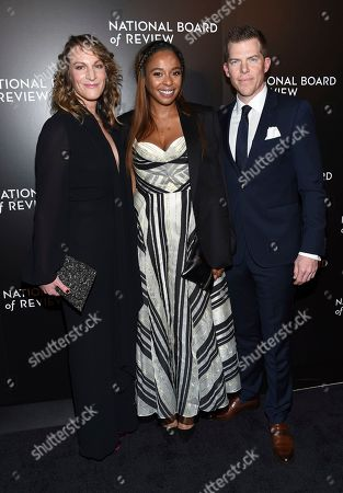 """Stock Image of Manchester By The Sea"""" producers Lauren Beck, left, Kimberly Steward and Kevin Walsh attend the National Board of Review Gala at Cipriani 42nd Street, in New York"""
