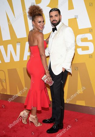 Stock Photo of Drake, right, and Rosalyn Gold-Onwude arrive at the NBA Awards at Basketball City at Pier 36, in New York