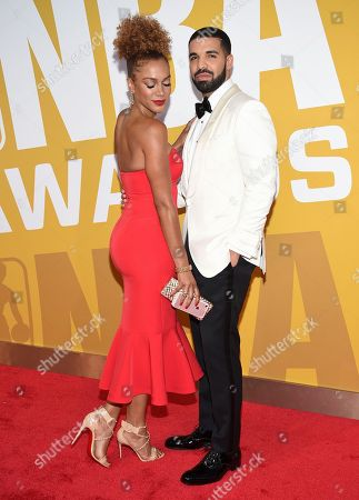 Drake, right, and Rosalyn Gold-Onwude arrive at the NBA Awards at Basketball City at Pier 36, in New York