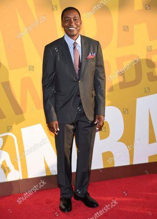 Isiah Thomas arrives at the NBA Awards at Basketball City at Pier 36, in New York