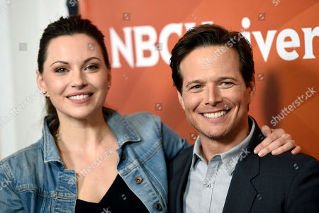 """Jill Flint, left, and Scott Wolf, cast members in the NBC series """"The Night Shift,"""" pose together at the 2017 NBCUniversal Summer Press Day at the Beverly Hilton, in Beverly Hills, Calif"""