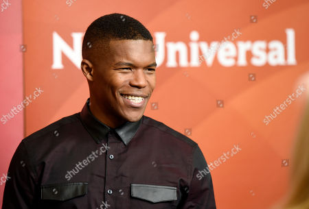 """Stock Image of Gaius Charles, a cast member in the NBC series """"Taken,"""" poses at the 2017 NBCUniversal Summer Press Day at the Beverly Hilton, in Beverly Hills, Calif"""