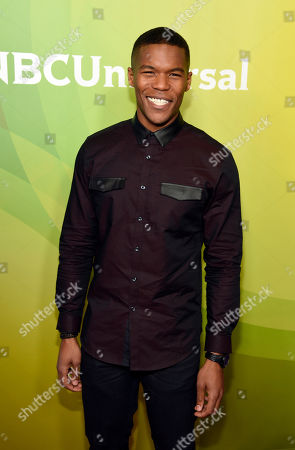 """Gaius Charles, a cast member in the NBC series """"Taken,"""" poses at the 2017 NBCUniversal Summer Press Day at the Beverly Hilton, in Beverly Hills, Calif"""