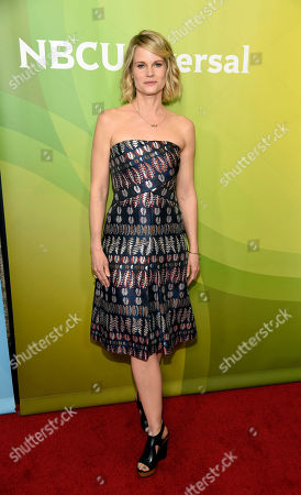 "Joelle Carter, a cast member in the NBC series ""Chicago Justice,"" poses at the 2017 NBCUniversal Summer Press Day at the Beverly Hilton, in Beverly Hills, Calif"