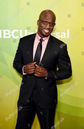 """Akbar Gbajabiamila, a cast member in the NBC series """"American Ninja Warrior,"""" poses at the 2017 NBCUniversal Summer Press Day at the Beverly Hilton, in Beverly Hills, Calif"""