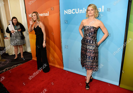 "Arielle Kebbel, left, a cast member in the NBC series ""Midnight, Texas,"" and Joelle Carter, a cast member in the NBC series ""Chicago Justice,"" pose in the press line at the 2017 NBCUniversal Summer Press Day at the Beverly Hilton, in Beverly Hills, Calif"