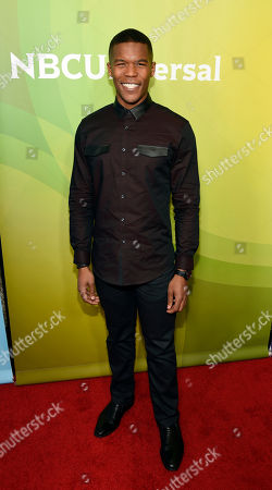 """Stock Photo of Gaius Charles, a cast member in the NBC series """"Taken,"""" poses at the 2017 NBCUniversal Summer Press Day at the Beverly Hilton, in Beverly Hills, Calif"""