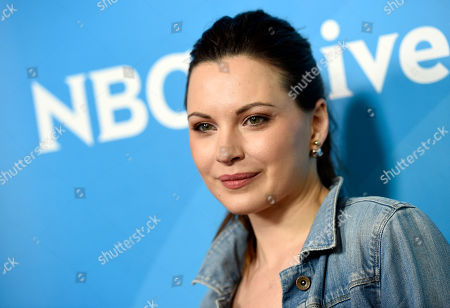 """Jill Flint, a cast member in the NBC series """"The Night Shift,"""" poses at the 2017 NBCUniversal Summer Press Day at the Beverly Hilton, in Beverly Hills, Calif"""