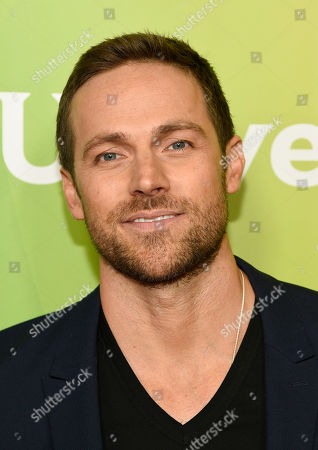 """Dylan Bruce, a cast member in the NBC series """"Midnight, Texas,"""" poses at the 2017 NBCUniversal Summer Press Day at the Beverly Hilton, in Beverly Hills, Calif"""