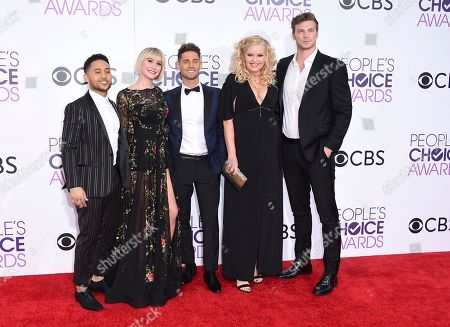 Tahj Mowry, from left, Chelsea Kane, Jean-Luc Bilodeau, Melissa Peterman, and Derek Theler arrive at the People's Choice Awards at the Microsoft Theater, in Los Angeles