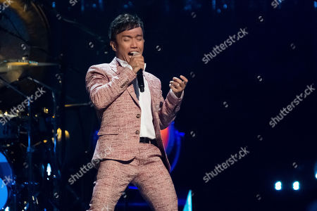 Arnel Pineda performs at the 2017 Rock and Roll Hall of Fame induction ceremony at the Barclays Center, in New York