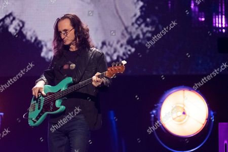 Geddy Lee from the band Rush performs at the 2017 Rock and Roll Hall of Fame induction ceremony at the Barclays Center, in New York