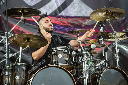 Stock Image of Valentino Arteaga of Of Mice & Men performs at Rock On The Range Music Festival, in Columbus, Ohio