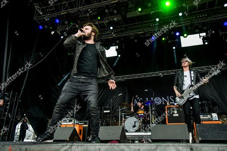 Stock Image of Austin Dickinson, left, and Stefan Whiting of As Lions perform at Rock On The Range Music Festival, in Columbus, Ohio