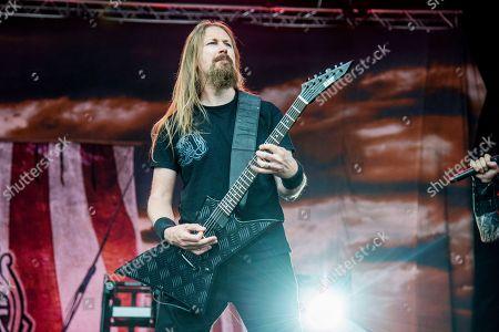 Johan Soderberg of Amon Amarth performs at Rock On The Range Music Festival, in Columbus, Ohio