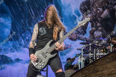 Ted Lundstrom of Amon Amarth performs at Rock On The Range Music Festival, in Columbus, Ohio