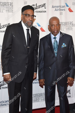 Kenny Gamble, left, and Leon Huff attend the the 48th Annual Songwriters Hall of Fame Induction and Awards Gala at the New York Marriott Marquis Hotel, in New York