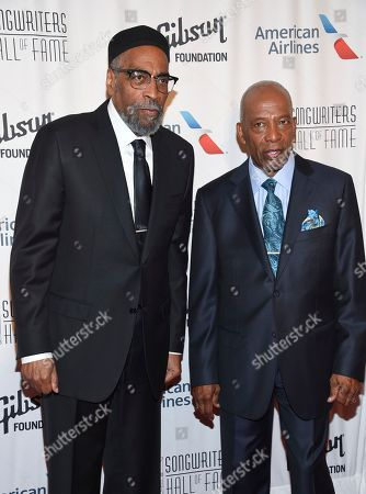 Stock Picture of Songwriters Kenneth Gamble, left, and Leon Huff attend the 48th Annual Songwriters Hall of Fame Induction and Awards Gala at the New York Marriott Marquis Hotel, in New York