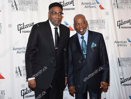 Songwriters Kenneth Gamble, left, and Leon Huff attend the 48th Annual Songwriters Hall of Fame Induction and Awards Gala at the New York Marriott Marquis Hotel, in New York