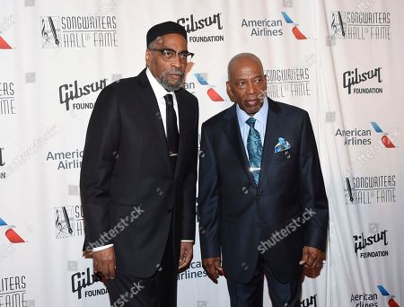 Stock Image of Songwriters Kenneth Gamble, left, and Leon Huff attend the 48th Annual Songwriters Hall of Fame Induction and Awards Gala at the New York Marriott Marquis Hotel, in New York