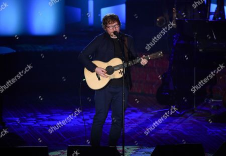 Singer-songwriter Ed Sheeran performs after accepting the Hal David Starlight Award at the 48th Annual Songwriters Hall of Fame Induction and Awards Gala at the New York Marriott Marquis Hotel, in New York
