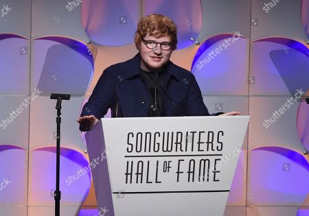 Singer-songwriter Ed Sheeran accepts the Hal David Starlight Award at the 48th Annual Songwriters Hall of Fame Induction and Awards Gala at the New York Marriott Marquis Hotel, in New York