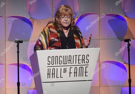 President and CEO of the Songwriters Hall of Fame Linda Moran gives introductory remarks at the 48th Annual Songwriters Hall of Fame Induction and Awards Gala at the New York Marriott Marquis Hotel, in New York