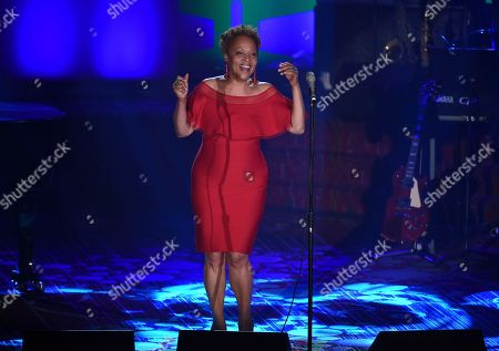 Singer Cassandra Wilson performs at the 48th Annual Songwriters Hall of Fame Induction and Awards Gala at the New York Marriott Marquis Hotel, in New York