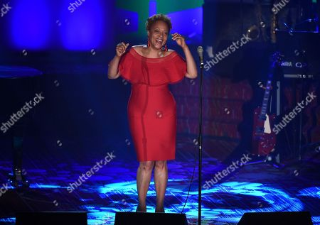 Stock Image of Singer Cassandra Wilson performs at the 48th Annual Songwriters Hall of Fame Induction and Awards Gala at the New York Marriott Marquis Hotel, in New York