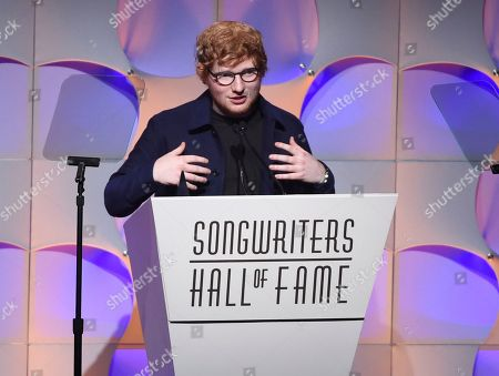 Stock Picture of Singer-songwriter Ed Sheeran accepts the Hal David Starlight Award at the 48th Annual Songwriters Hall of Fame Induction and Awards Gala at the New York Marriott Marquis Hotel, in New York