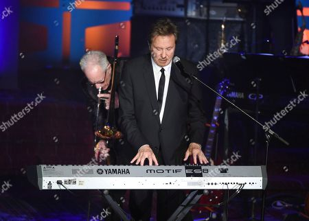 Chicago band members and inductees Robert Lamm, right, and James Pankow perform at the 48th Annual Songwriters Hall of Fame Induction and Awards Gala at the New York Marriott Marquis Hotel, in New York