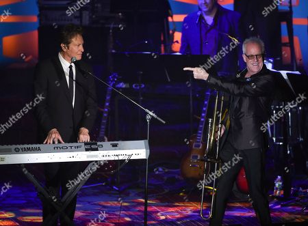 Chicago band members and inductees Robert Lamm, left, and James Pankow perform at the 48th Annual Songwriters Hall of Fame Induction and Awards Gala at the New York Marriott Marquis Hotel, in New York