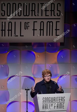 Stock Photo of Singer-songwriter Ed Sheeran accepts the Hal David Starlight Award at the 48th Annual Songwriters Hall of Fame Induction and Awards Gala at the New York Marriott Marquis Hotel, in New York