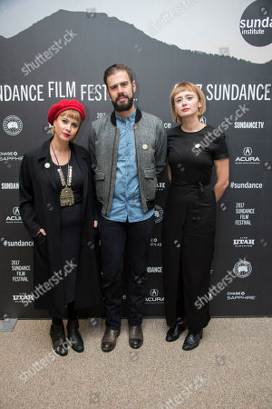 """From left, composers Jess Wolfe, Dan Molad and Holly Laessig poses at the premiere of the film """"Band Aid"""" at the Eccles Theatre during the 2017 Sundance Film Festival, in Park City, Utah"""