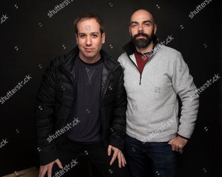 """Directors Kief Davidson, left, and Pedro Kos pose for a portrait to promote the film, """"Bending the Arc"""", at the Music Lodge during the Sundance Film Festival, in Park City, Utah"""