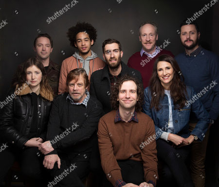 """Actor Beck Bennett, back row from left, actor Jorge Lendeborg Jr., director Dave McCary, actor Matt Walsh, writer Kevin Costello, actress Kate Lyn Sheil, foreground from left, actor Mark Hamill, actor Kyle Mooney and actress Michaela Watkins pose for a portrait to promote the film, """"Brigsby Bear"""", at the Music Lodge during the Sundance Film Festival, in Park City, Utah"""