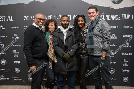 "From left, producers Reggie Hudlin and Stephanie Allain, writer/director Gerard McMurray, and producers Mel Jones and Jason Michael Berman pose at the premiere of the film ""Burning Sands"" at the Eccles Theatre during the 2017 Sundance Film Festival, in Park City, Utah"