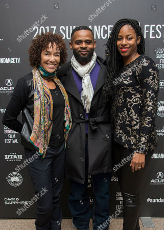 """From left, producer Stephanie Allain, writer/director Gerard McMurray and producer Mel Jones pose at the premiere of the film """"Burning Sands"""" at the Eccles Theatre during the 2017 Sundance Film Festival, in Park City, Utah"""