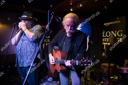 """From left, John Popper, Bob Weir and Mickey Hart perform at the party for the film """"Long Strange Trip"""" during the 2017 Sundance Film Festival, in Park City, Utah"""