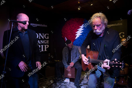 """From left, Bill Kreutzmann, Woody Harrelson and Bob Weir perform at the party for the film """"Long Strange Trip"""" during the 2017 Sundance Film Festival, in Park City, Utah"""