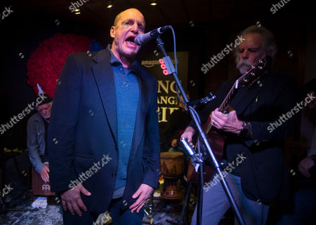 """From left, Bill Kreutzmann, Woody Harrelson, Mickey Hart and Bob Weir perform at the party for the film """"Long Strange Trip"""" during the 2017 Sundance Film Festival, in Park City, Utah"""