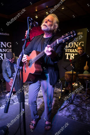 """From left, Bill Kreutzmann, Bob Weir and Mickey Hart perform at the party for the film """"Long Strange Trip"""" during the 2017 Sundance Film Festival, in Park City, Utah"""