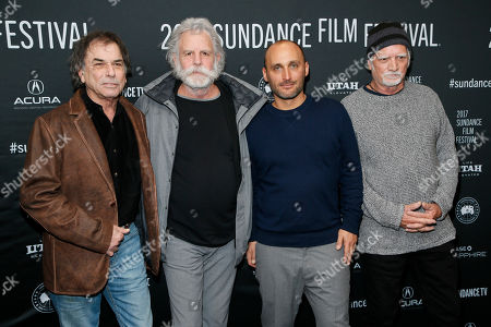 """From left to right, Mickey Hart, Bob Weir, director Amir Bar-Lev and Bill Kreutzmann pose at the premiere of """"Long Strange Trip,"""" a documentary about the Grateful Dead rock group, during the 2017 Sundance Film Festival, in Park City, Utah"""