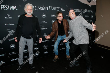 """From left, Bob Weir, Mickey Hart, and Bill Kreutzmann pose at the premiere of """"Long Strange Trip,"""" a documentary about the Grateful Dead rock group, during the 2017 Sundance Film Festival, in Park City, Utah"""