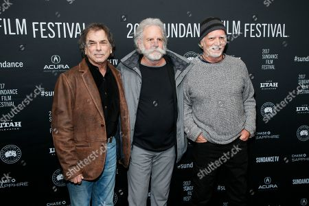"""From left to right, Mickey Hart, Bob Weir, and Bill Kreutzmann pose at the premiere of """"Long Strange Trip,"""" a documentary about the Grateful Dead rock group, during the 2017 Sundance Film Festival, in Park City, Utah"""