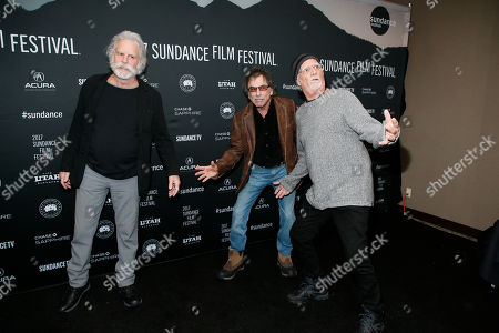 """From left to right, Bob Weir, Mickey Hart, and Bill Kreutzmann pose at the premiere of """"Long Strange Trip,"""" a documentary about the Grateful Dead rock group, during the 2017 Sundance Film Festival, in Park City, Utah"""
